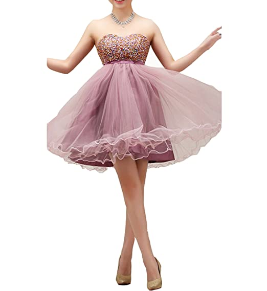 Kissprom Pastel Purple Strapless Prom Dresses Short Jeweled Party