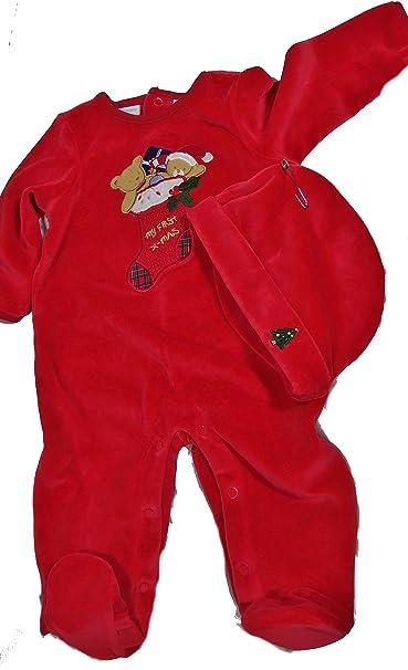 baby 2 pc bears in stocking footie pajamas w christmas tree hat red my