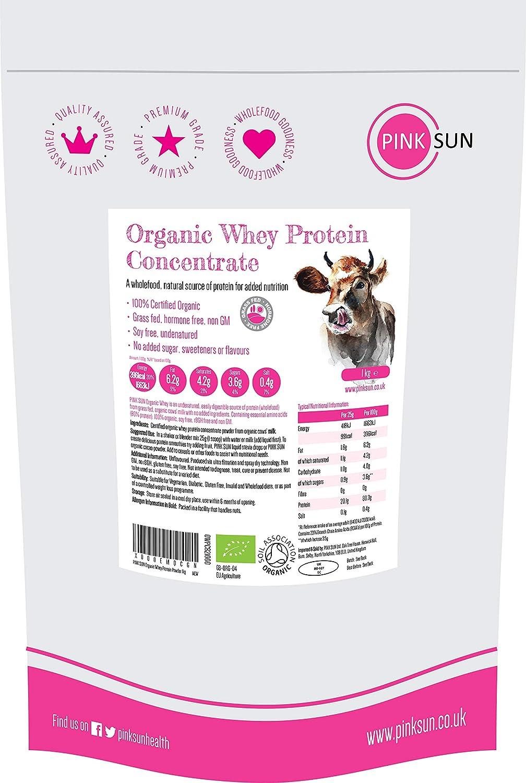 PINK SUN Concentrado de Proteína de Suero Orgánico 1kg Bio Hierba alimentada sin Hormonas Neutro sin Sabor sin Gluten sin Soja Organic Whey Protein Powder (82% protein) Grass fed Unflavoured 1000g