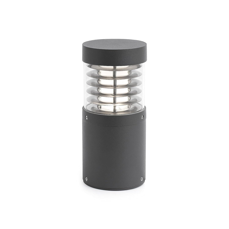 bombilla incluida aluminio inyectado Faro Barcelona Giza 70767 pc transp LED 15W cristal opal reflector aluminio Sobremuro color gris