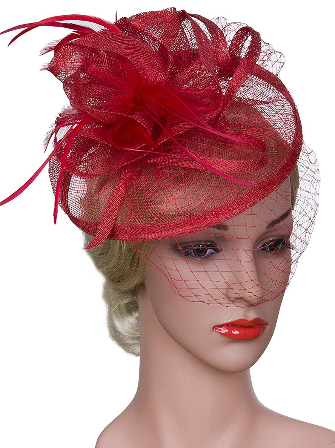 Vijiv Women Vintage Derby Fascinator Hat With Veil Pillbox Headband Feather Cocktail Tea Party JXJ-FH3308Y