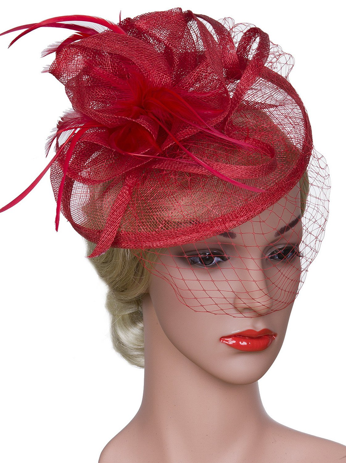 Vijiv Women Vintage Derby Fascinator Hat With Veil Pillbox Headband Feather Cocktail Tea Party, Red, One Size
