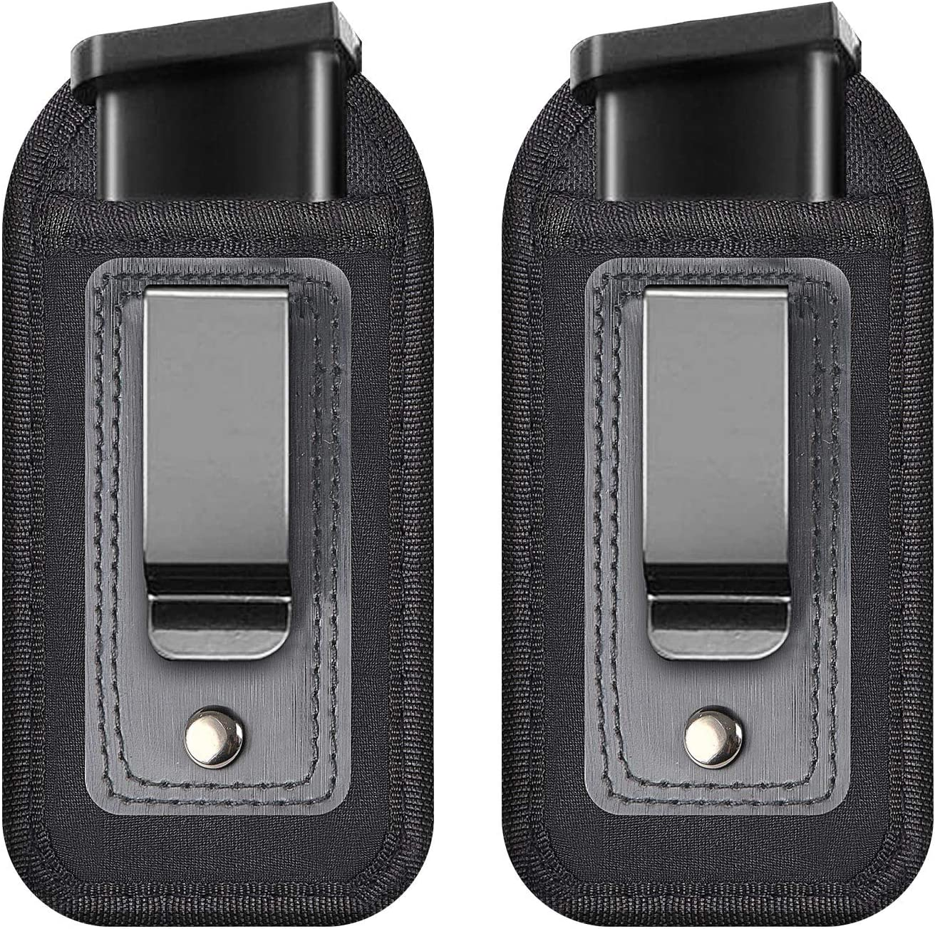 TrendGate Universal Magazine Holster, 2 Pcs IWB Inside Waistband Pistol Mag Holster Pouch Concealed Carry 9mm .40 .45 .380, Glock 19 43 17 Sig 1911 S&W M&P Springfield Fits 7 10 15 Round Ammo Clips