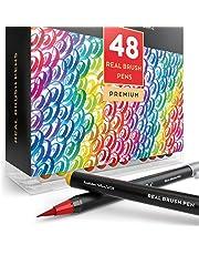 ARTEZA Caja de 48 rotuladores con punta de pincel | Rotuladores acuarelables profesionales para dibujar y colorear | 100% no tóxicos | Múltiples colores | Puntas flexibles