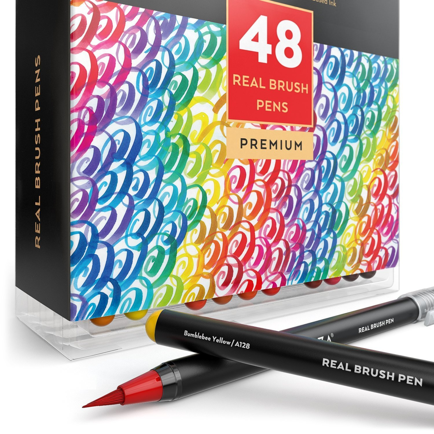 Arteza Real Brush Pens, 48 Paint Markers with Flexible Brush Tips, Professional Watercolor Pens for Painting, Drawing, Coloring & More, 100% Nontoxic, Multiple Colors