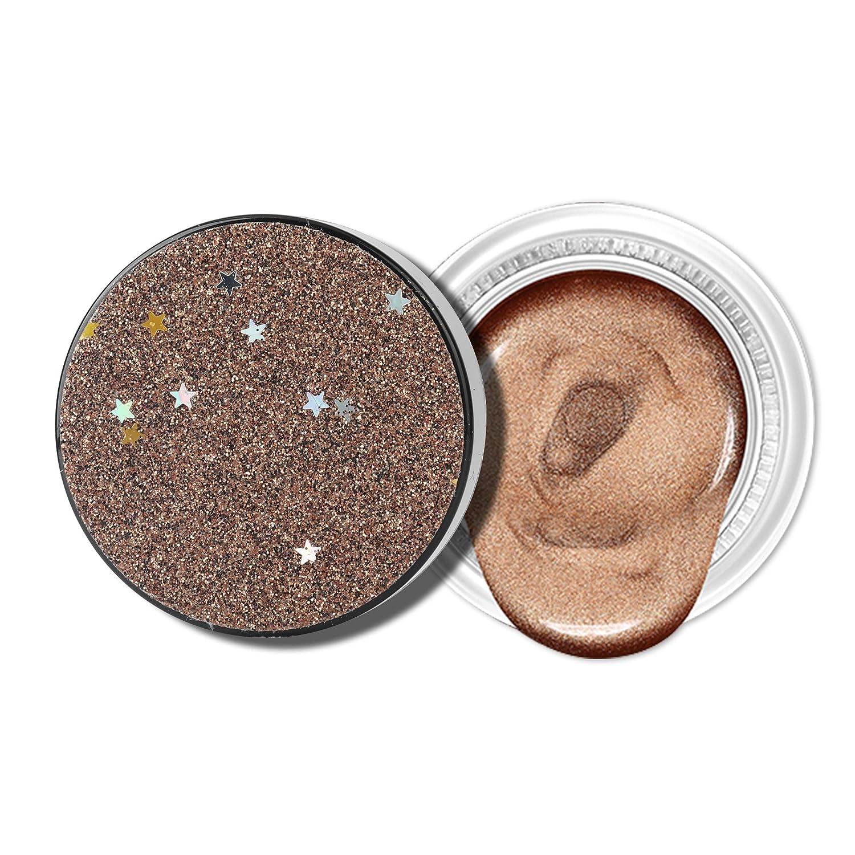Jornarshar Jelly Eye Shadow, Jelly Texture Sparkling Pearl Glitter Waterproof Eyeshadow, Brown