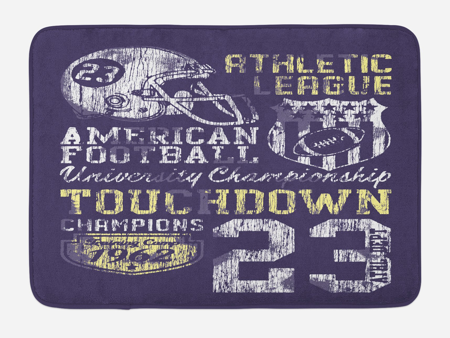 Ambesonne Sports Bath Mat, Retro Style American Football College Theme Illustration Athletic Championship Apparel, Plush Bathroom Decor Mat with Non Slip Backing, 29.5 W X 17.5 W Inches, Purple by Ambesonne (Image #1)