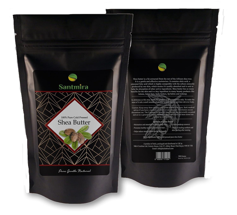 Burro di karitè Santmira pressato a freddo 100% naturale puro Premium grade Ghana origine avorio corpo burro–500gms