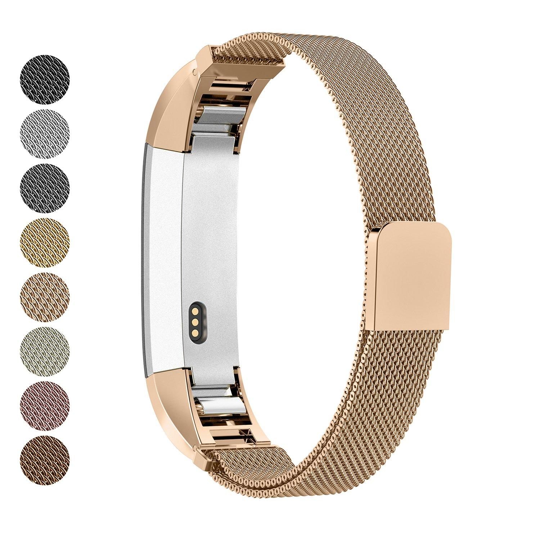 GreenInsync Fitbit ALTAバンド, Fitbit ALTA HRステンレススチール交換用アクセサリーバンドSmall Large for Fitbit ALTAリストバンドW/ループとマグネットロックレディースメンズガールズボーイズ B0752THMP9 G10 Rose Gold G10 Rose Gold