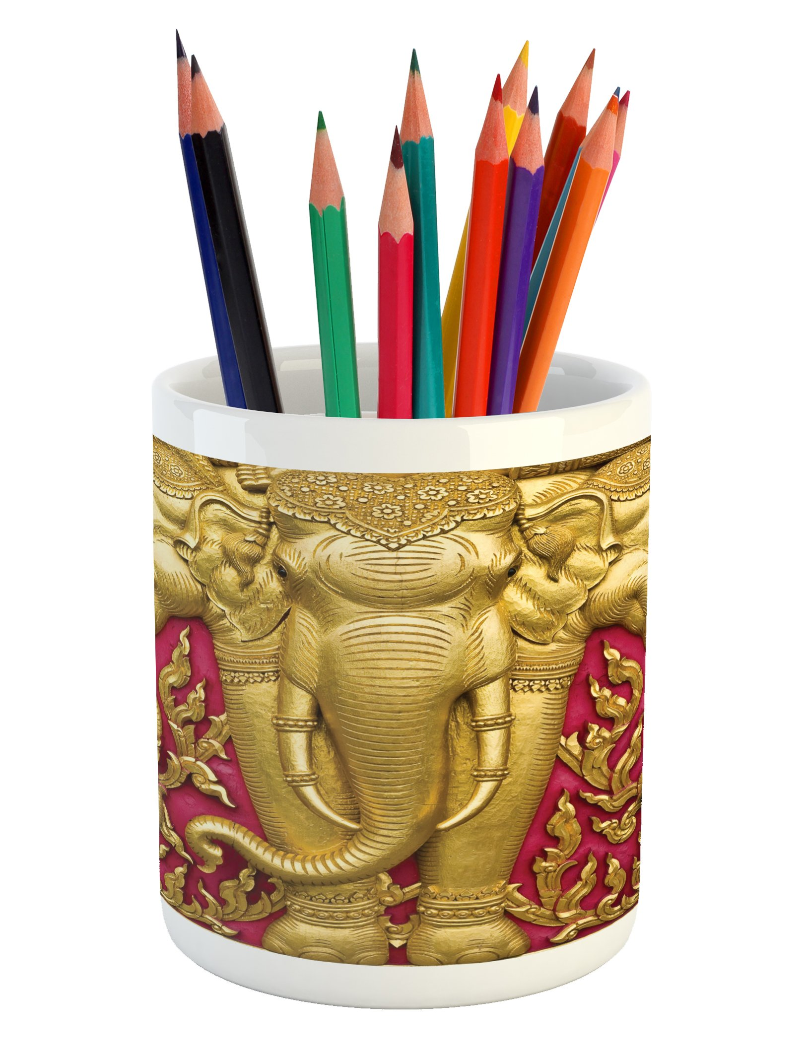 Ambesonne Elephant Pencil Pen Holder, Yellow Toned Elephant Motif on Door Thai Temple Spirituality Statue Classic, Printed Ceramic Pencil Pen Holder for Desk Office Accessory, Fuchsia Mustard by Ambesonne