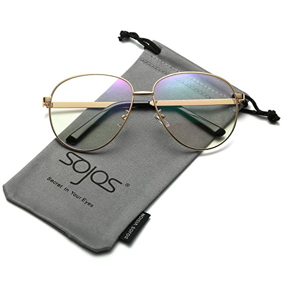 fb45c7654ac SojoS Aviator Clear Lens Metal Frame Men Women Glasses Eyeglasses Eyewear  SJ5004 With Gold Frame Clear Lens  Amazon.ca  Clothing   Accessories