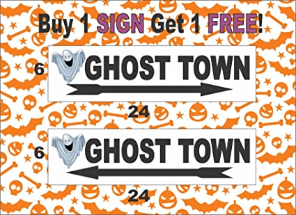 2 6x24 ghost town directional double sided sign halloween haunted woods