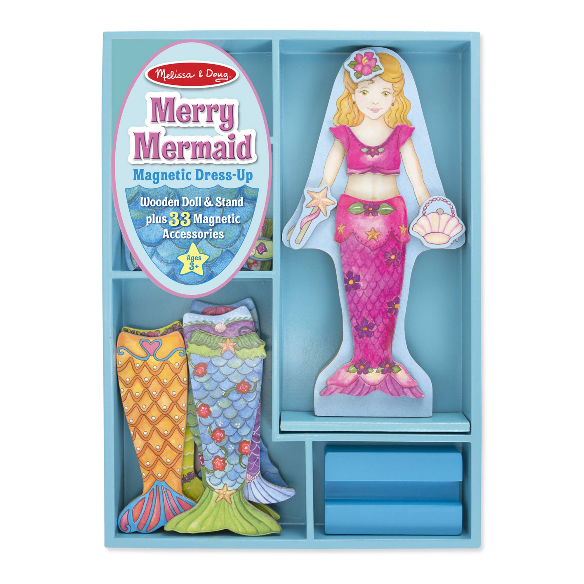 Melissa & Doug Merry Mermaid Wooden Dress-Up Doll and Stand - 33 Magnetic Accessories by Melissa & Doug