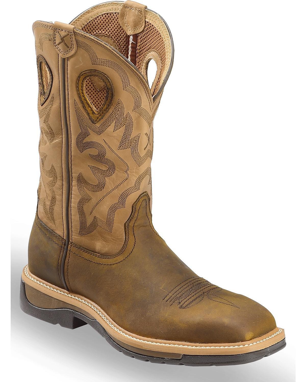 Twisted X Men's Hazel Lite Weight Cowboy Work Boot Steel Toe Brown 10.5 D(M) US