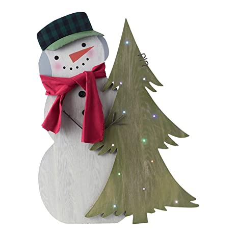 hallmark home lightup indooroutdoor standing snowman decor with hat and scarf