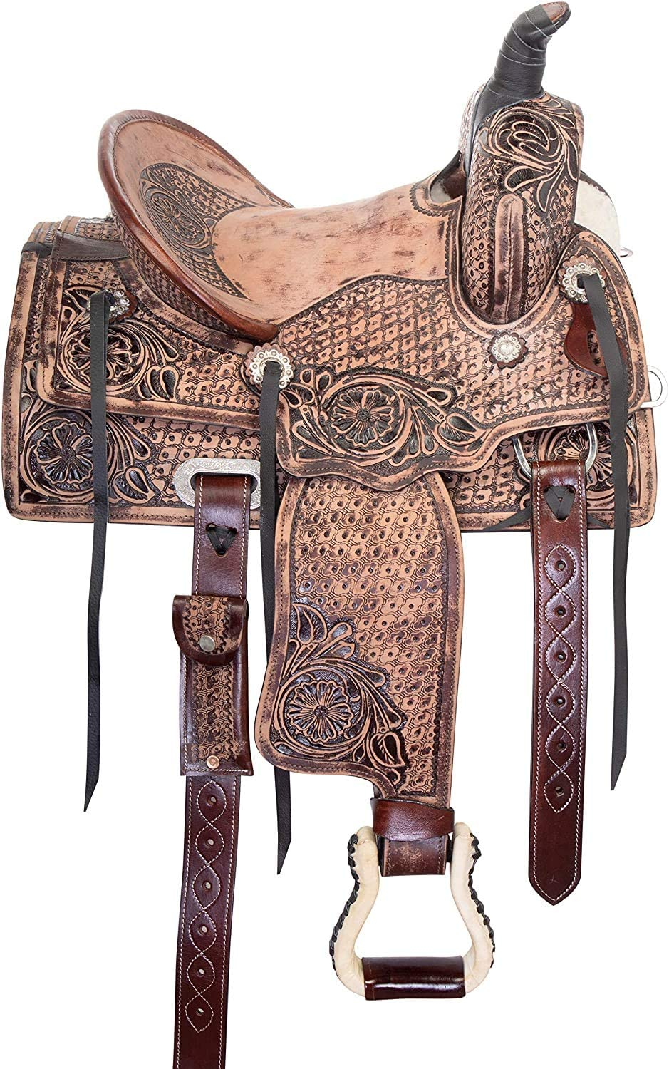 """Star Trading Company Little Cowboy Western Roping Leather Horse Saddle Youth Kids TACK Set 10/"""" 12/"""" 13/"""" 14 15 Inches"""