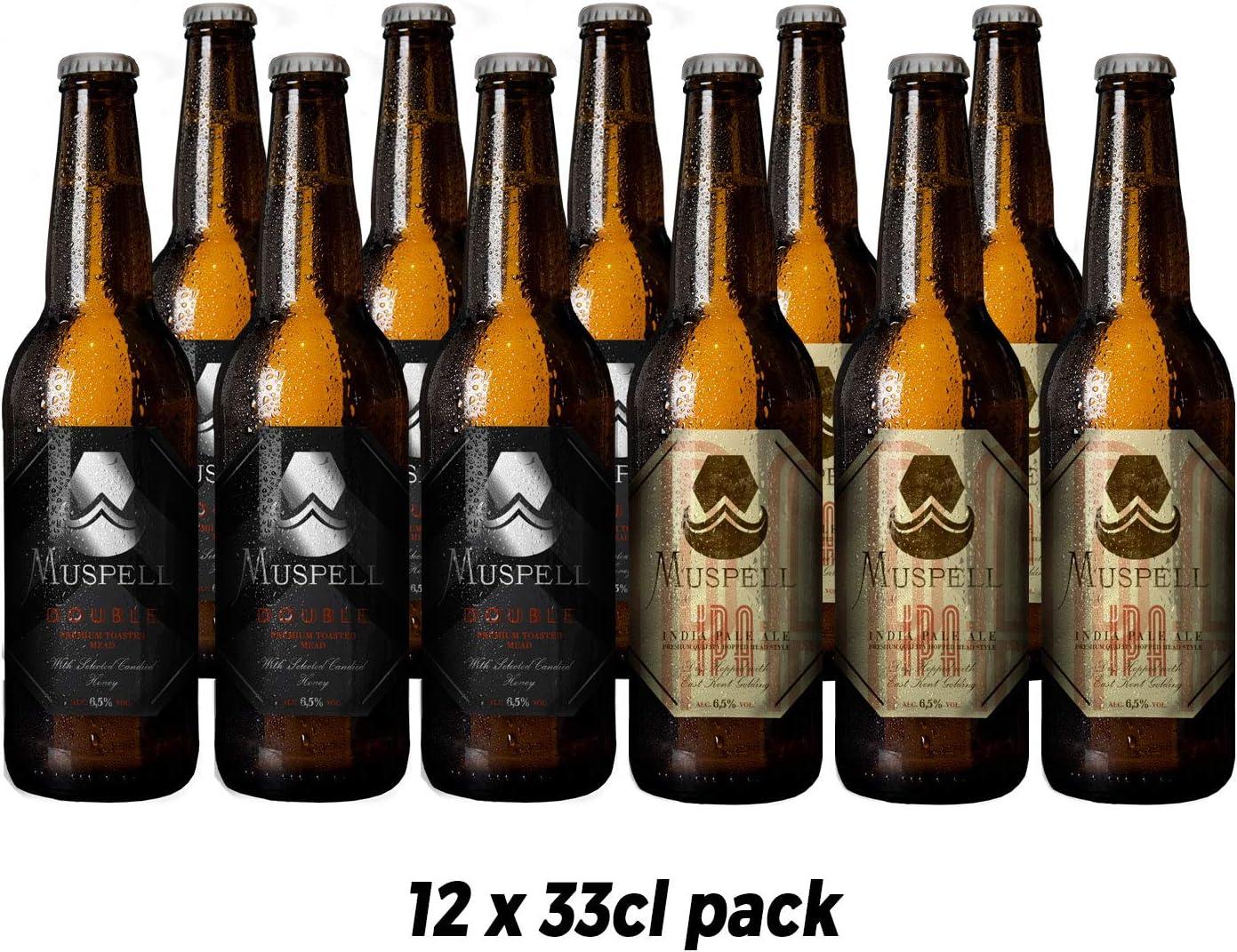 Muspell Hidromiel pack MIXTO DOUBLE/IPA de 12 x 33 cl. 3 Muspell Double + 3 Muspell IPA - bebida sin gluten fermentada con miel: Amazon.es: Alimentación y bebidas