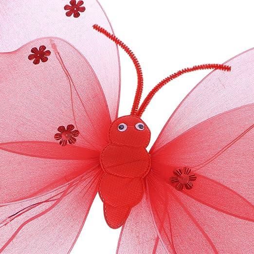 TOYMYTOY Costume Bambino Farfalla Ali da Fata Bacchetta Cerchietto 3 pezzi Rosso