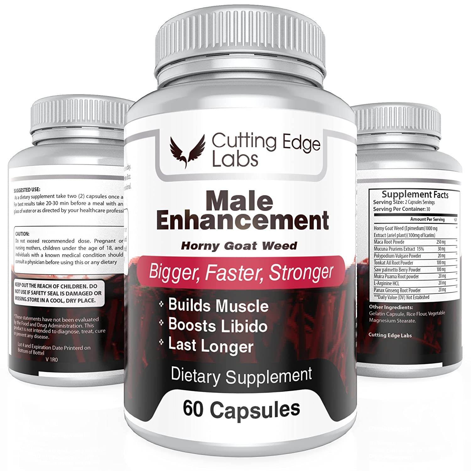 Male Enhancement Supplement with Horny Goat Weed Blend (60 Capsules) – Fortifies Testosterone and Sexual Libido – Supports Muscle, Stamina & Endurance Gains, Natural Weight Loss