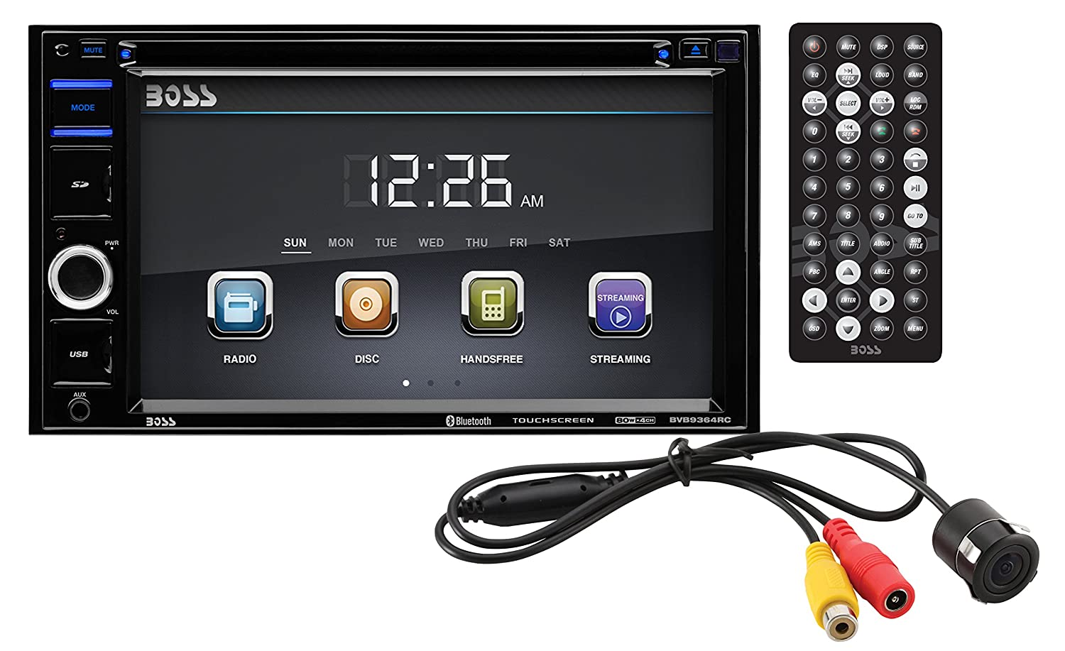 BOSS AUDIO BVB9364RC Double-DIN 6.2 inch Touchscreen DVD Player Receiver, Bluetooth, Wireless Remote and Rear camera included