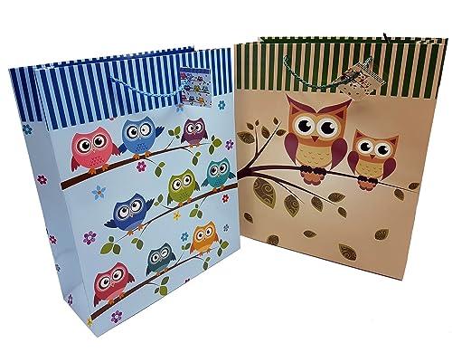 ILKADIM 6 sacchetti regalo, motivo: gufo, 32 x 26 cm