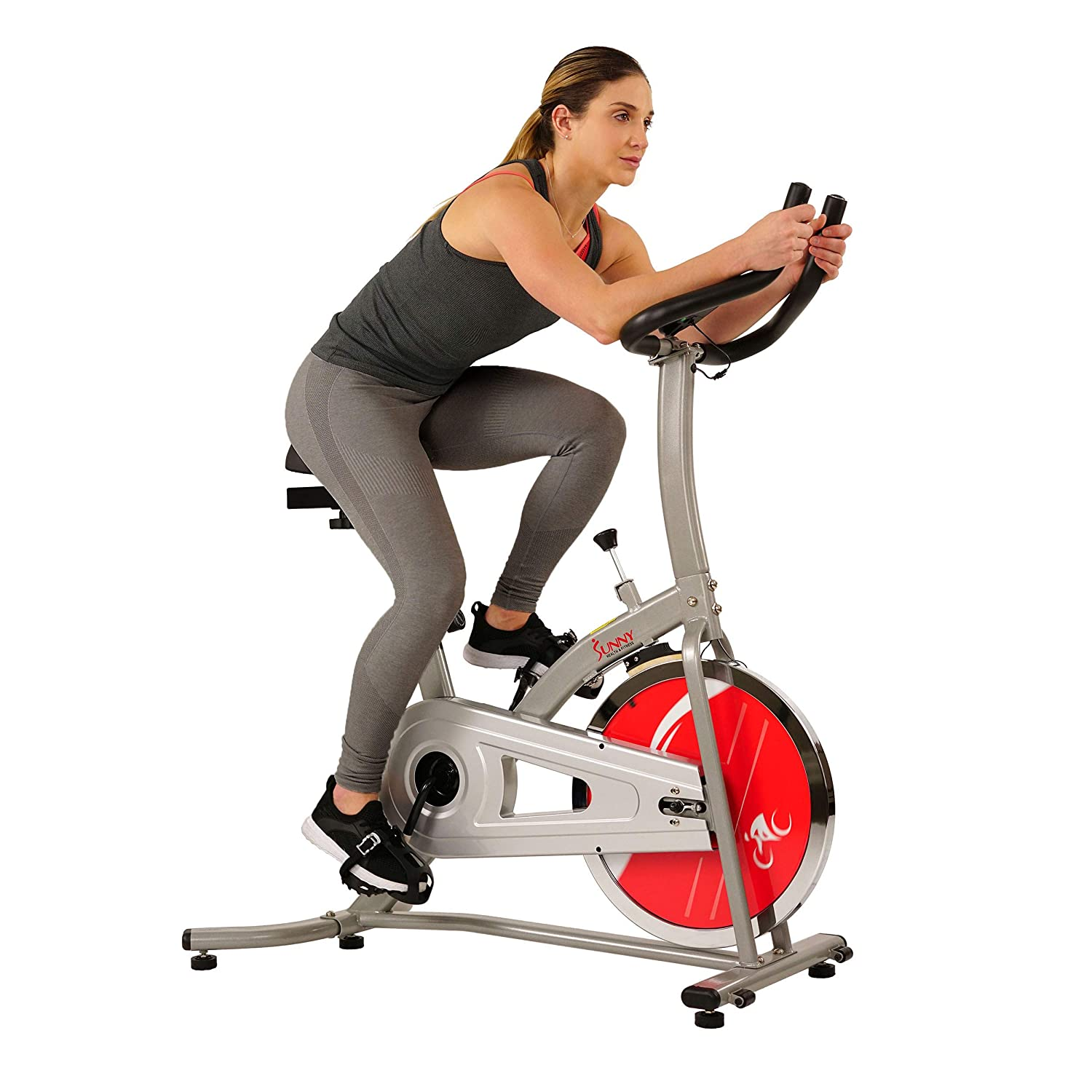 Sunny Health Fitness Indoor Cycle Exercise Stationary Bike with LCD Monitor, 22 LB Chromed Flywheel, Felt Resistance, 220 LB Max Weight – SF-B1203