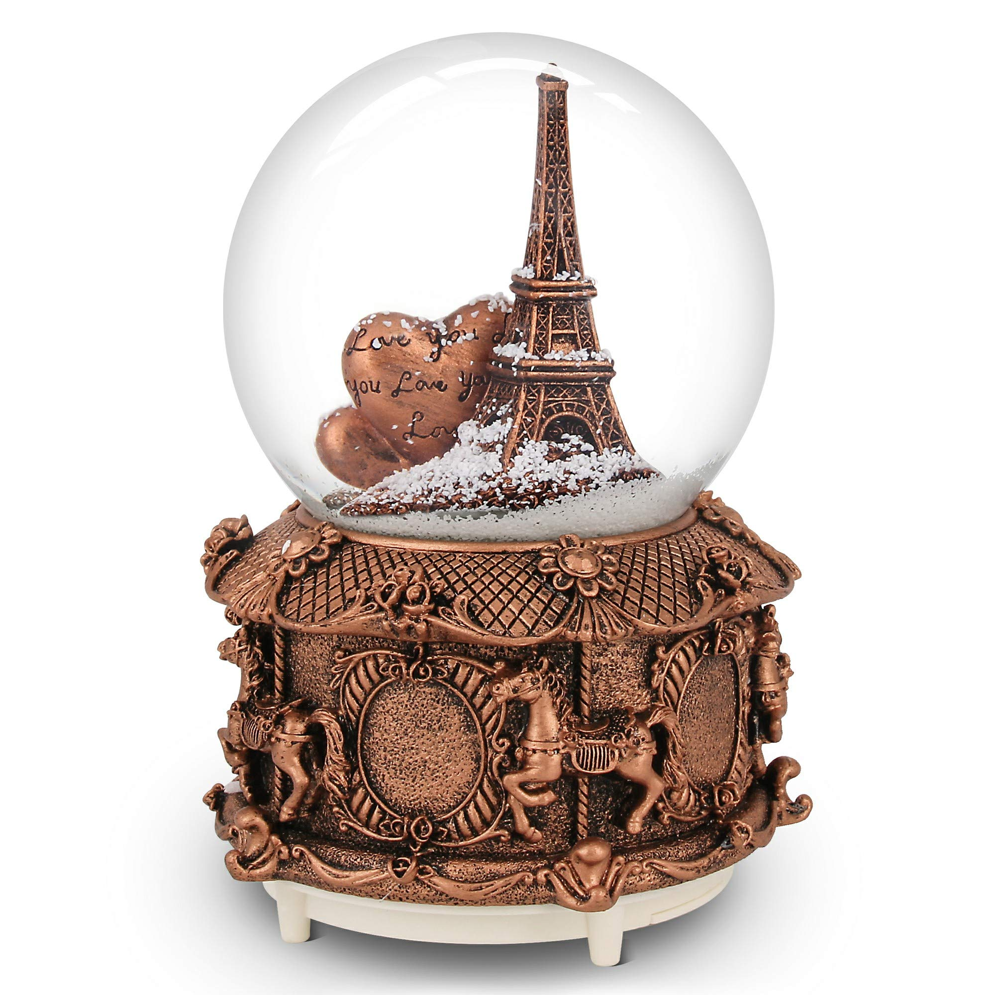 QTKJ Paris Snow Musical Globe with Color Changing LED Lights, Eiffel Tower Snow Globe with Merry-go-Round Base, 100mm 6'' Tall Souvenirs Collection ... (Gold) by QTKJ