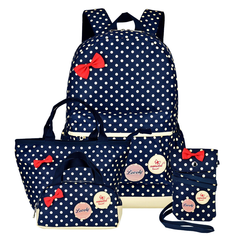 Girls Backpacks and Lunch Bag for School Book Bag and Handbag Purse Polka Dots (Navy 4Pcs Polka Dots)