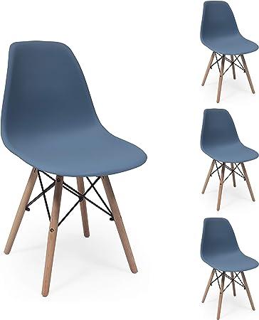 Juego de 4 sillas de Comedor MAX Tower inspiración Silla Tower - Azul Horizonte: Amazon.es: Hogar