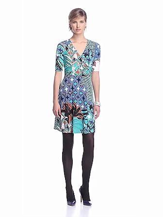 Donna Morgan Women's Elbow Sleeve Faux Wrap Dress, Jadeite Multi, 6
