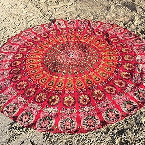 Goodsatar Gasa Redondo playa Toalla para la ducha Manta de mesa de tela de yoga (