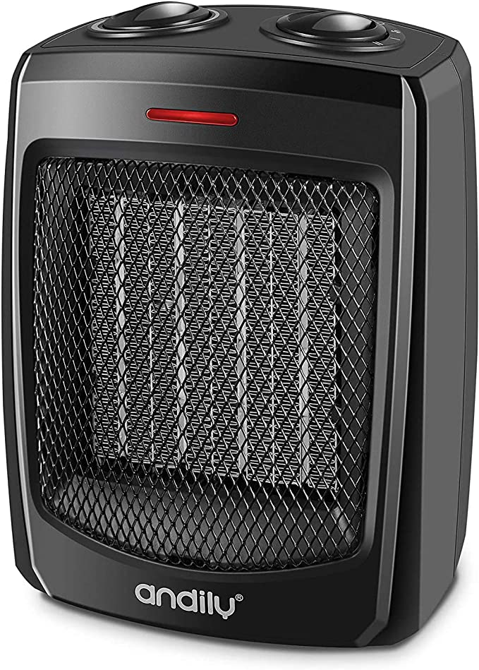 best bathroom heater: andily Space Heater Electric Heater for Home and Office Ceramic Small Heater with Thermostat, 750W/1500W