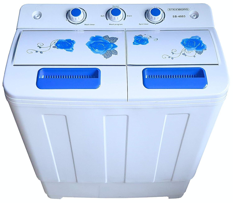 Reisewaschmaschine Waschautomat bis 6 KG 2 XXL Kammern Camping Mobile Waschmaschine | Miniwaschmaschine Toploader Schleuderkammer 3 KG 2in1 Mini Waschmaschine mit Schleuder