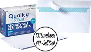 Number 10 White Envelopes, Self-Seal, Security Tinted Envelope, no Moisture Required - Windowless - Ideal for Home, Office Secure Mailing - Quick-Seal Closure - 4-1/8 x 9-1/2 Inches - (100)