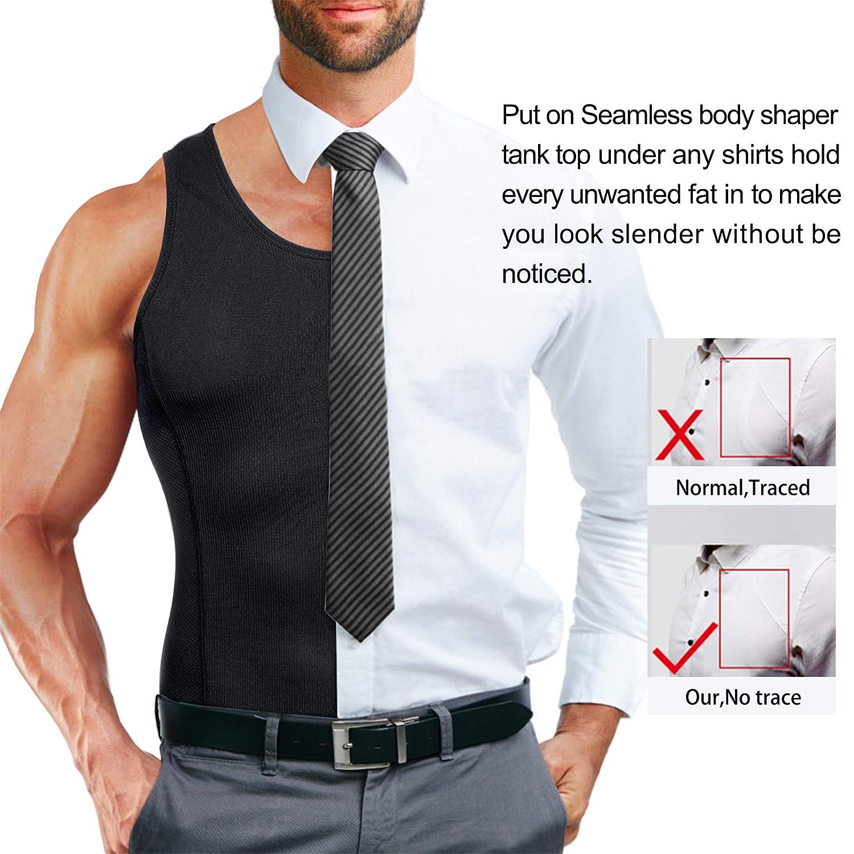 TAILONG Compression Shirts for Men Shapewear Slimming Body Shaper Waist Trainer Vest Workout Tank Tops Abdomen Undershirts
