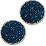 Kate Aspen Under the Stars Glass Coaster Set, Wedding/Party Decorations, Party Favor Gift, Navy/Gold/White
