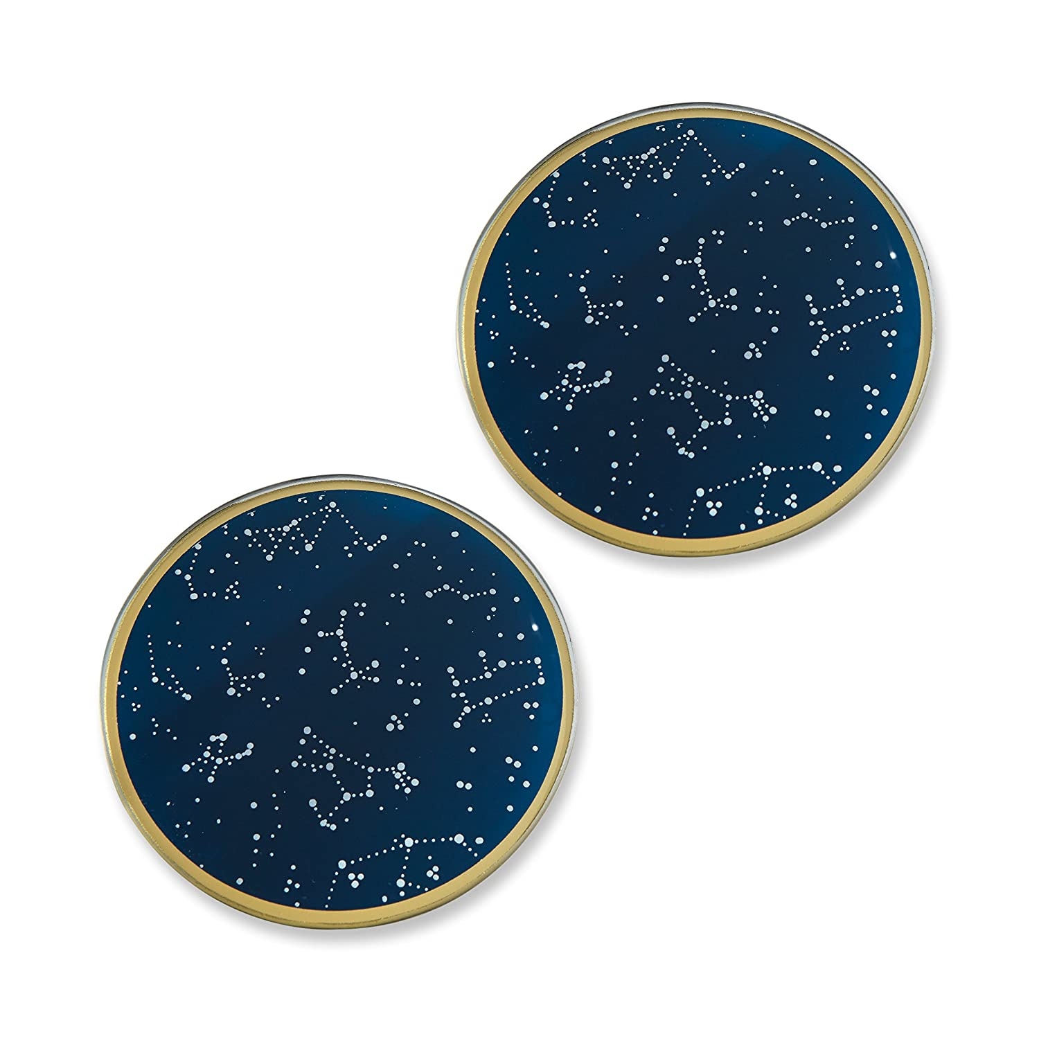 Kate Aspen Under the Stars Glass Coaster Set, Wedding/Party Decorations, Party Favor Gift, Navy/Gold/White 27114NA