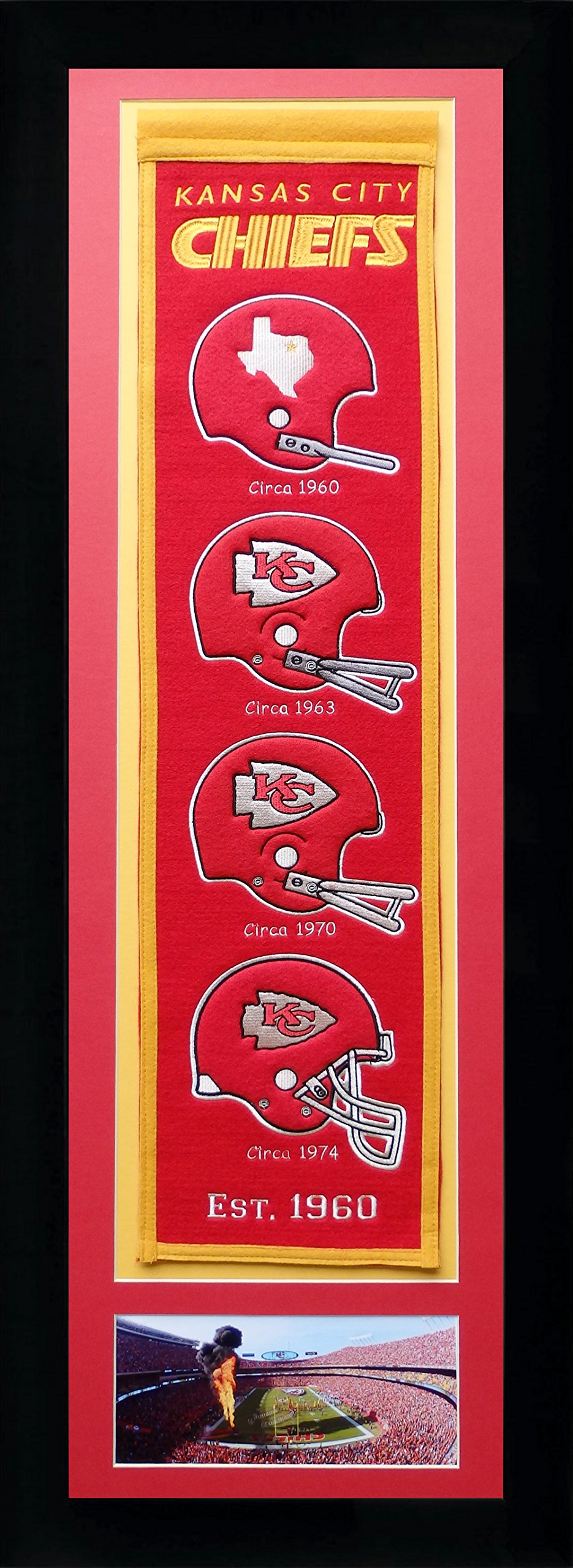 Legends Never Die NFL Kansas City Chiefs Team Heritage Banner with Photo, Team Colors, 15'' x 42'' by Legends Never Die