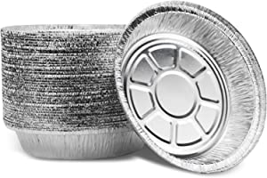7 inch Round Aluminum Foil Pans(50 Pack) Heavy Duty Disposable Aluminum Tin Round Foil Trays for Leftovers, Carry Out and Takeout Roasting, Baking, or Cooking loaf,air Fryer Oven