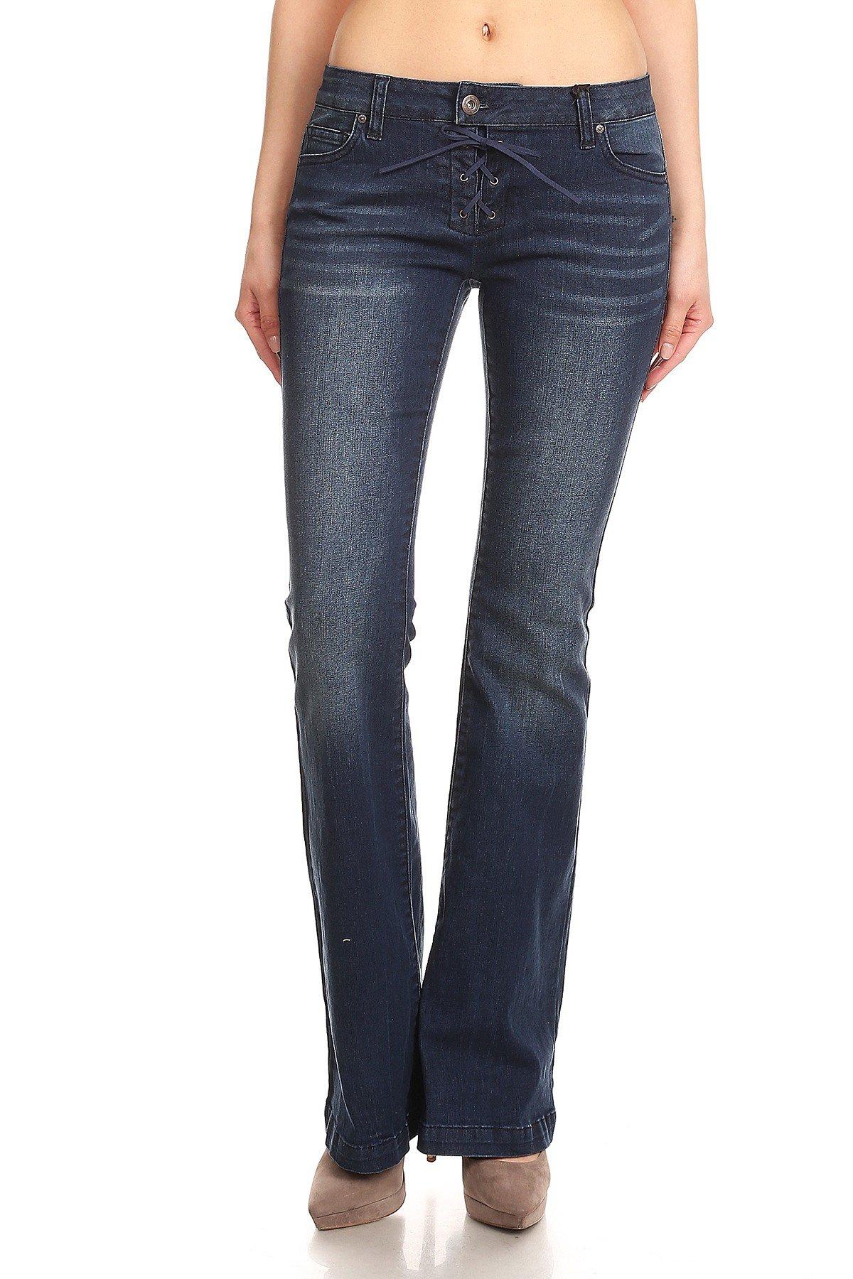 Wax Jean Womens Juniors 70s Trendy Slim Fit Flared Bell Bottom Denim Jeans Pants (Dark Blue Wash, 1)