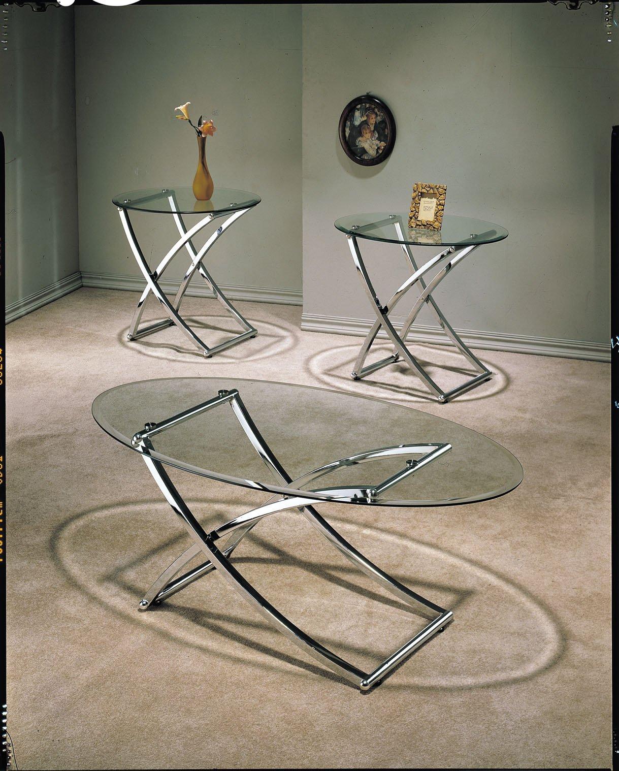 ACME Paradise Glass Coffee End Table Set 3 Piece