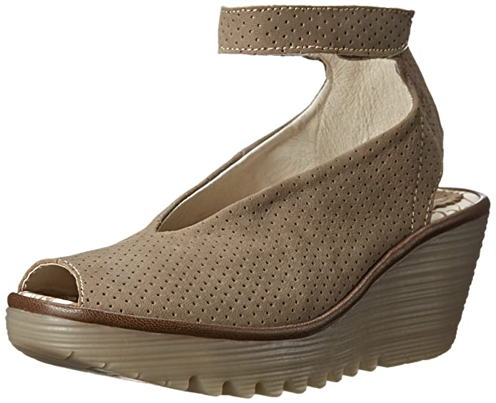 Amazon.com | FLY London Womens Yala Snake-Print Leather Wedge Sandal | Platforms & Wedges
