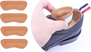 2 Pairs Leather Heel Grips Liner,Non Slip Inserts for Men Women Shoes Too Big,Shoe Filler Improved Shoe Fit and Comfort,Prevent Blisters (Khaki, Thick)
