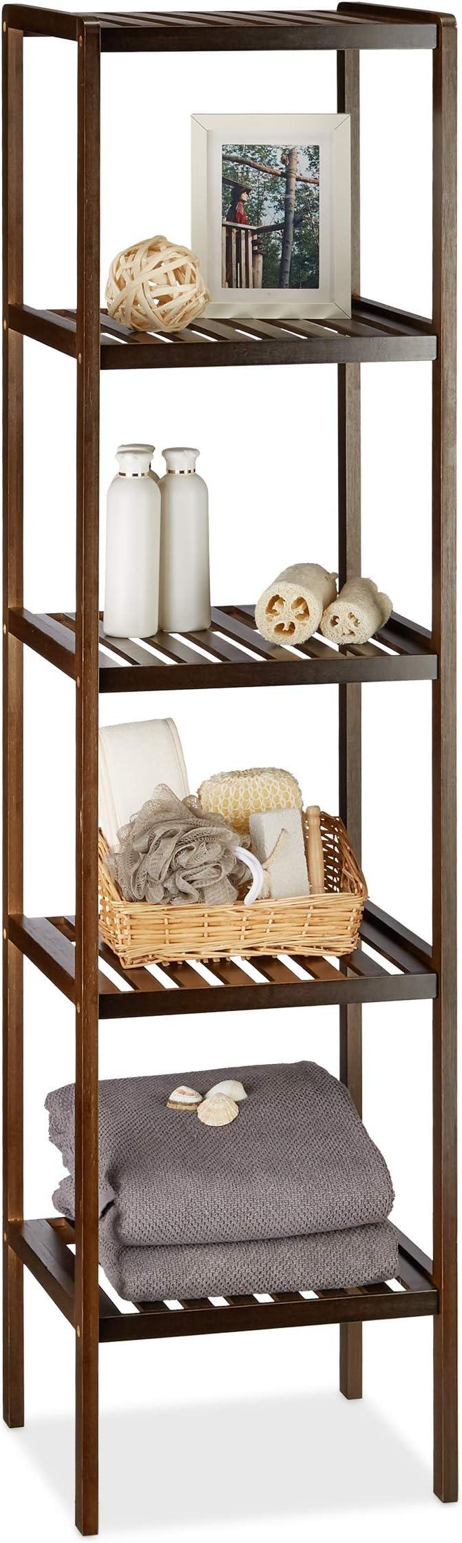 Relaxdays Estantería de Baño con 5 Estantes, Bambú, Marrón, 33x34.5x139.5 cm