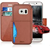 Samsung Galaxy S 7/S7 Leather Wallet Case with Credit Cards Slot and Metal Magnetic, Slim Fit and Heavy Duty, TAKEN Plastic Flip Case / Cover with Rubber Edge, for Women, Men, Boys, Girls (Dark Brown)