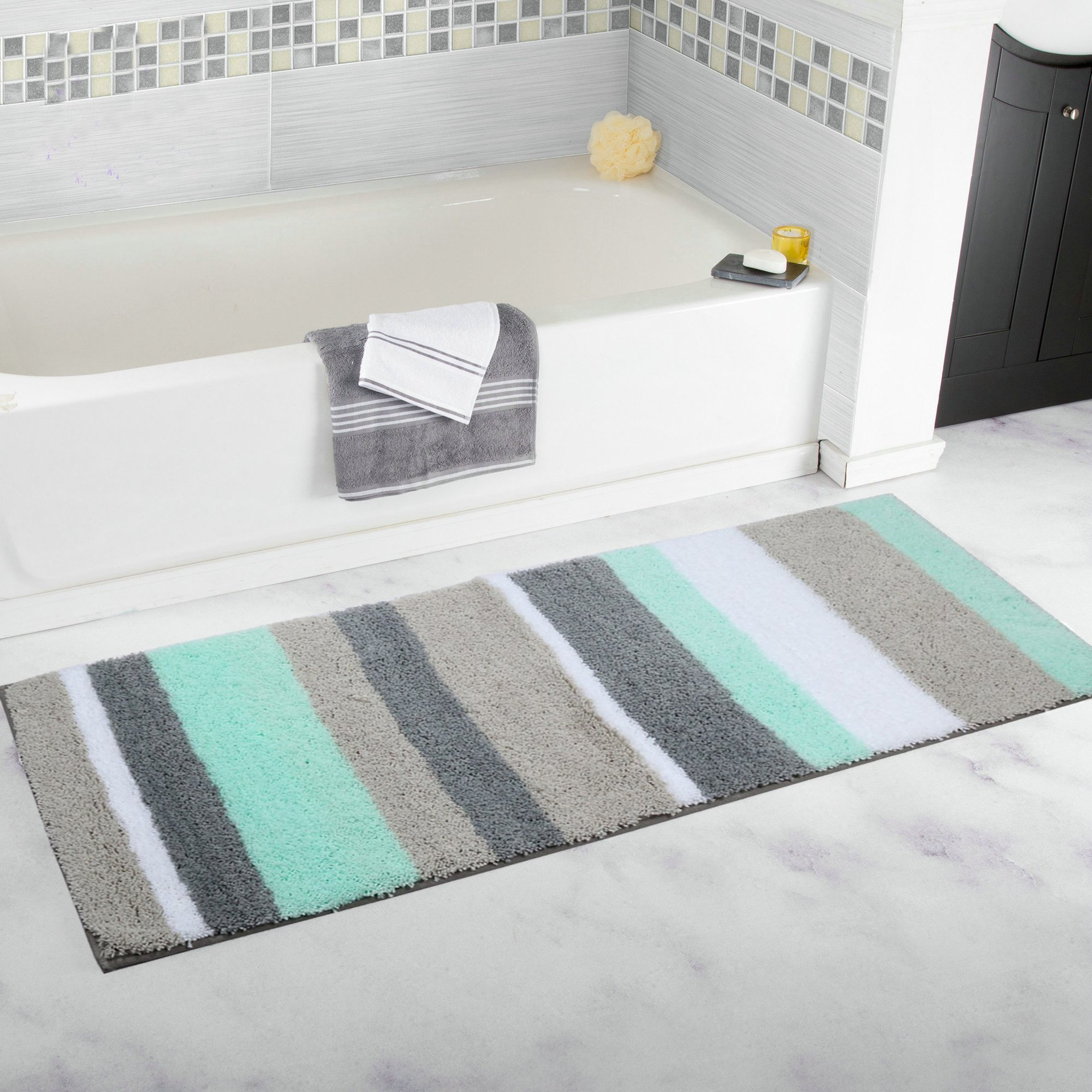 HEBE Extra Long Bathroom Runner Rugs Non-Slip Microfiber