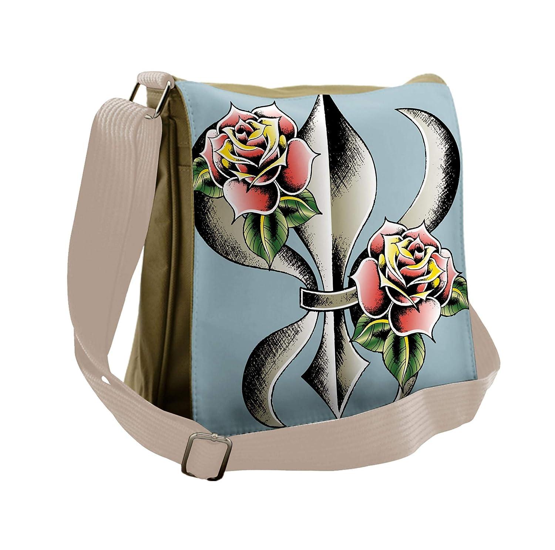 de25bf347f31 Amazon.com   Lunarable Fleur De Lis Messenger Bag, Artistic Design ...