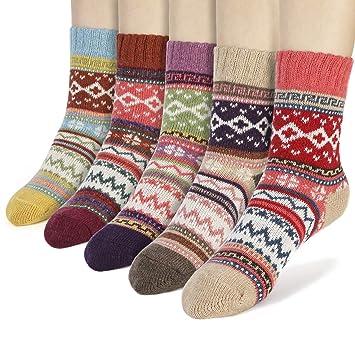 AYPOW Calcetines de algodón de Punto, 5 Pares para Mujer de Invierno cálido y Suave de Lana Gruesa de Punto Calcetines Calientes: Amazon.es: Deportes y aire ...