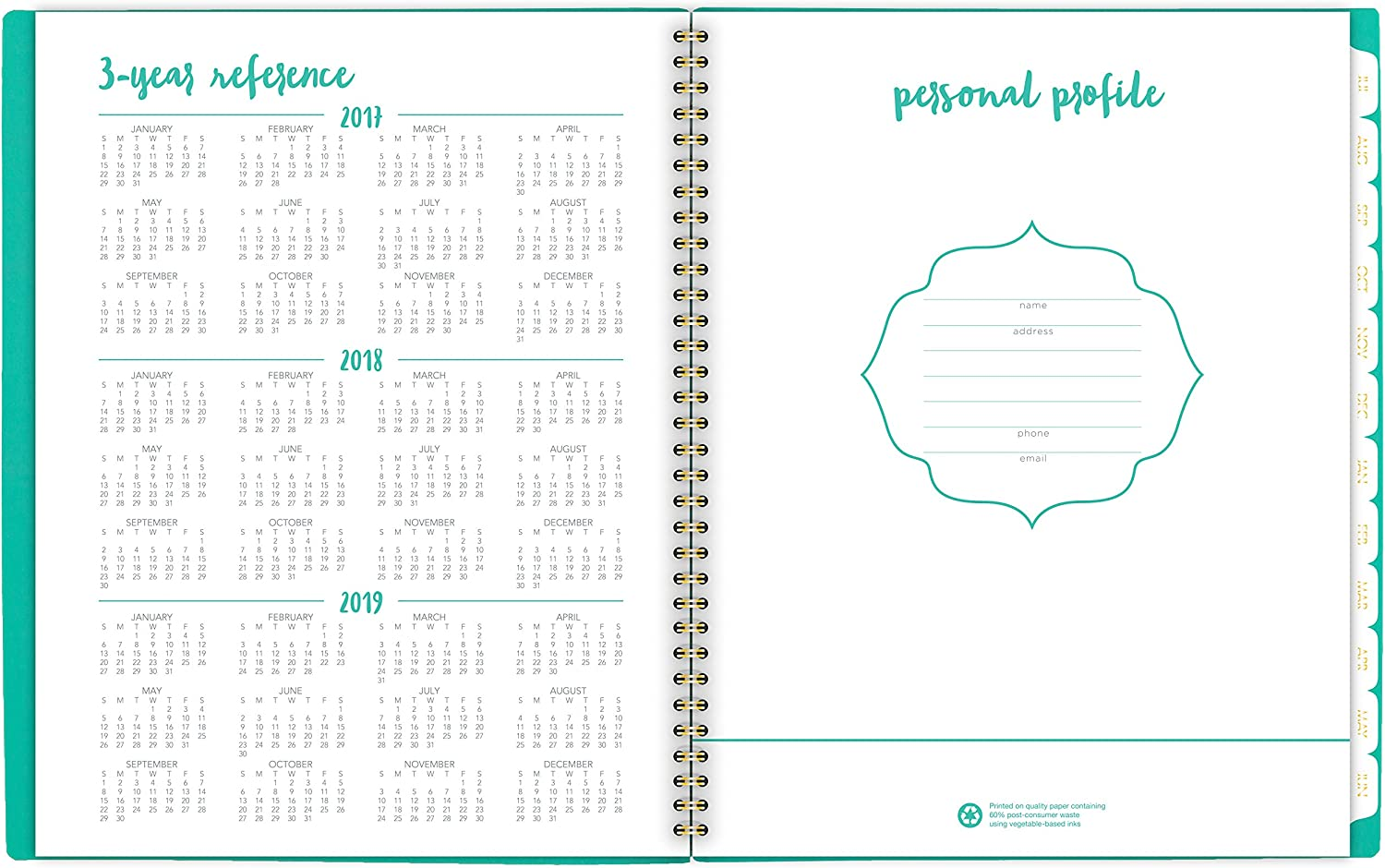 8-1//2 x 11 AT-A-GLANCE Academic Weekly // Monthly Planner Aspire July 2017 June 2018 Mint 1022-905A-42