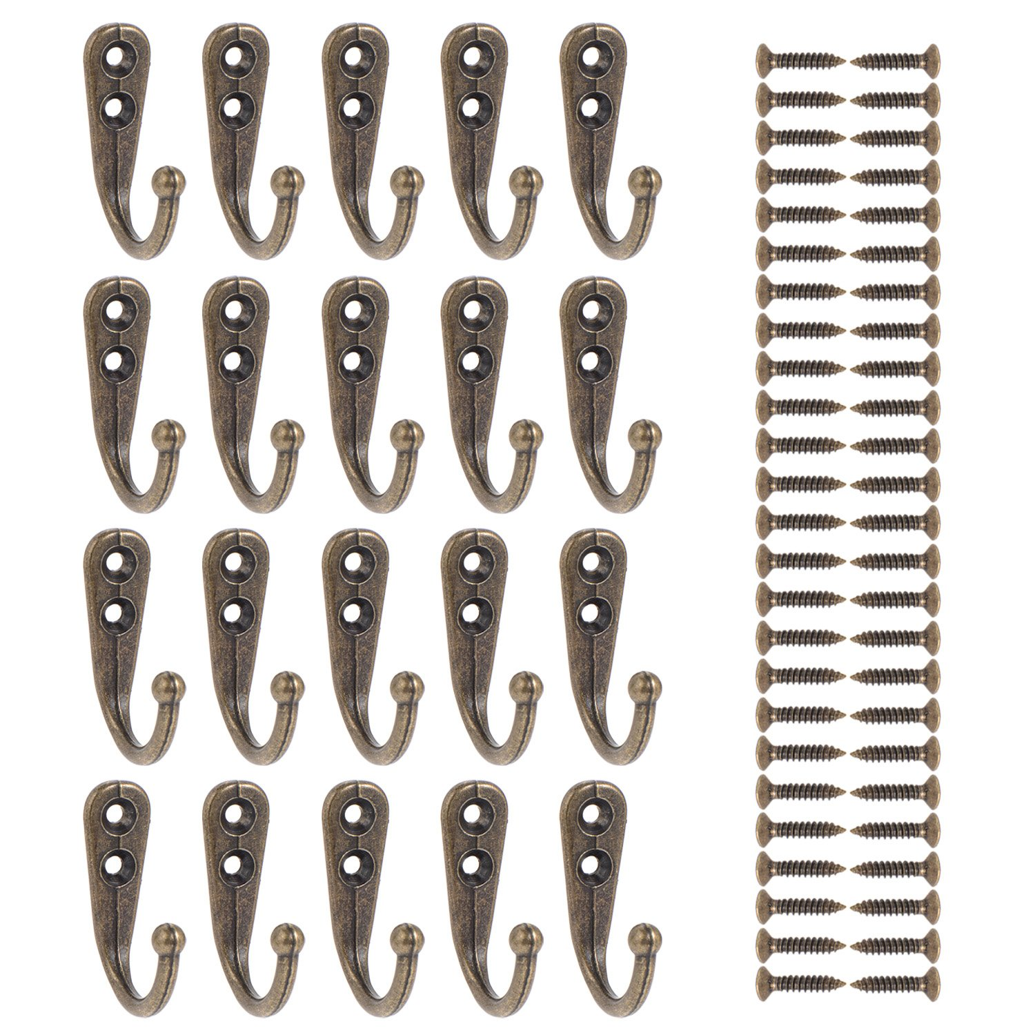 eBoot 20 Pieces Wall Mounted Hook Robe Hooks Single Coat Hanger and 50 Pieces Screws (Bronze) plastic